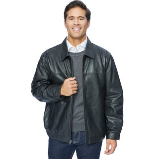 Excelled Men's Black/Brown Leather Shirt Collar Jacket
