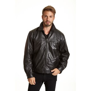 Excelled Men's Big and Tall Leather Shirt Collar Jacket