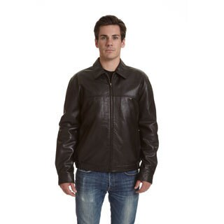 Excelled Men's Big and Tall Leather Shirt Collar Jacket (As Is Item)
