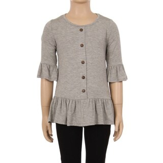 Children's Buttom-trim Peplum Top