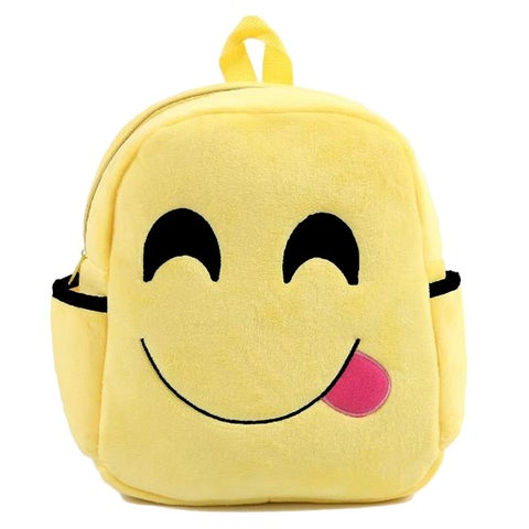 Baby Deluxe Kids 'Show Your Emoticon' Yellow Polyester Plush Emoji Backpack