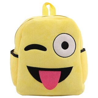 Baby Deluxe Yellow Fabric 'Show Your Emoticon' Emoji Face Plush Kids Backpack