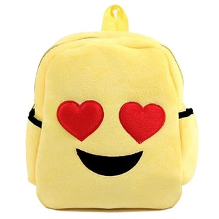 Baby Deluxe Show Your Emoticon Yellow Polyester Plush Kids Backpack with Emoji Face with Heart-shaped Eyes