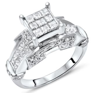 Noori 14k White Gold 1 1/3ct TDW Diamond Engagement Ring
