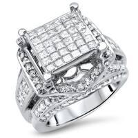 Noori 14k Gold 2 1/2ct TDW Princess-cut Diamond Engagement Ring - White