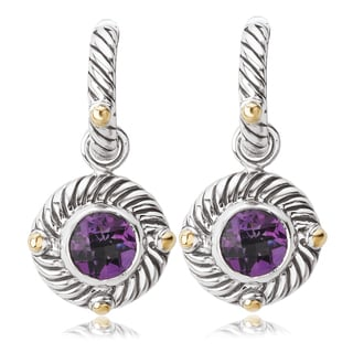 Avanti Sterling Silver and 18K Yellow Gold Round Amethyst Dangle Earrings