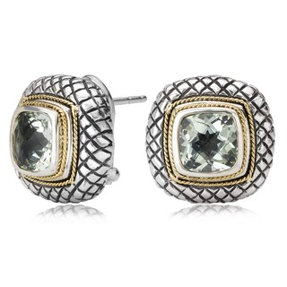 Avanti Sterling Silver and 18K Yellow Gold Cushion Cut Green Amethyst Button Omega Clip Earrings