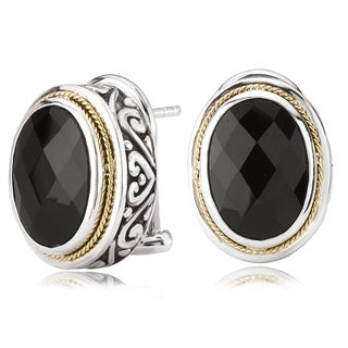 Avanti Sterling Silver and 18K Yellow Gold Oval Black Onyx Button Earrings