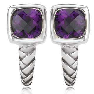 Avanti Sterling Silver Cushion Cut Amethyst J-Hoop Earrings