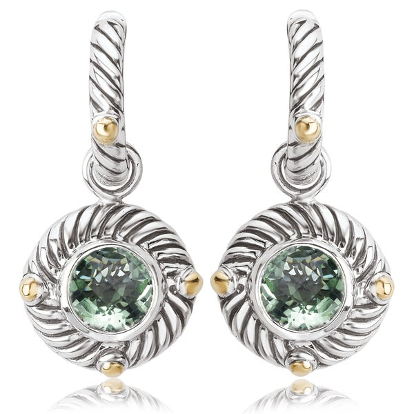 Avanti Sterling Silver and 18K Yellow Gold Round Green Amethyst Dangle Earrings