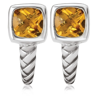 Avanti Sterling Silver Cushion Cut Citrine J-Hoop Earrings