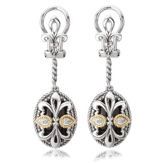 Avanti Sterling Silver and 18K Yellow Gold Oval Black Onyx Fleur-De-Lis Design Dangle Earrings