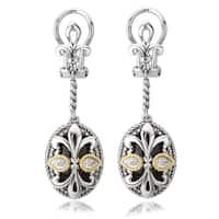 Avanti Sterling Silver and 18K Yellow Gold Oval Black Onyx Fleur-De-Lis Design Dangle Earrings