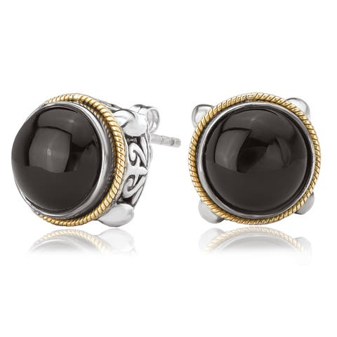 Avanti Sterling Silver and 18K Yellow Gold Round Black Onyx Cabochon Earrings