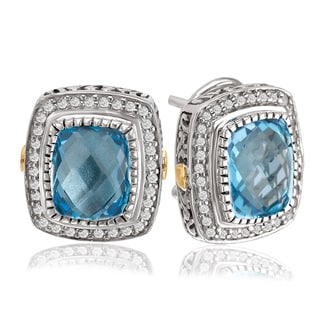 Avanti Sterling Silver and 18K Yellow Gold Blue Topaz Cushion Shaped Button Earrings