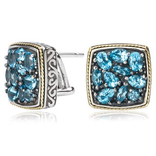 Avanti Sterling Silver and 18K Yellow Gold Blue Topaz Multi Shape Stone Cluster Button Earrings