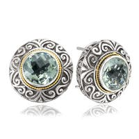 Avanti Sterling Silver and 18K Yellow Gold Round Green Amethyst Button Earrings