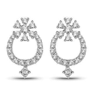 Olivia Leone 14k White Gold 1/2ct TDW Diamond Saddle Earrings (G-H, SI1-SI2)