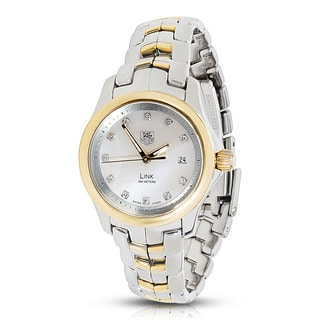 Pre-Owned TAG Heuer Link WJF1353 MOP Quartz Ladies Watch in 18K Yellow Gold/Steel, Diamond