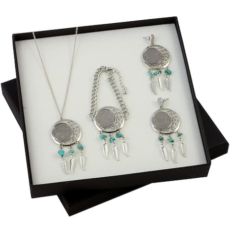 American Coin Treasures Buffalo Nickel Dreamcatcher Necklace, Bracelet, and Earrings Boxed Gift Set - Silver