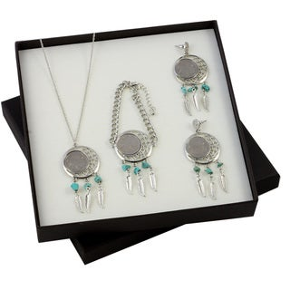 American Coin Treasures Buffalo Nickel Dreamcatcher Necklace, Bracelet, and Earrings Boxed Gift Set