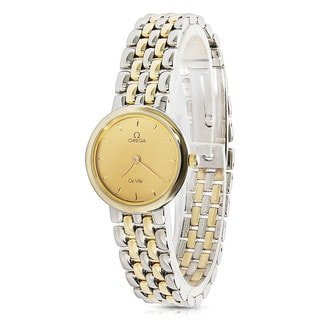 Pre-Owned 1990s Omega De Ville 795.111 Quartz Ladies Watch in 18K Yellow Gold/Steel