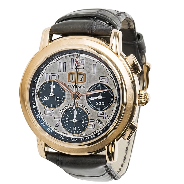 99fb6a5fb1 Pre-owned Maurice Lacroix Flyback Chronograph Mens Watch in 18K Rose Gold