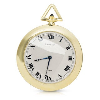 Pre-owned Cartier 18k Yellow Gold Refurbushed Pocket Watch