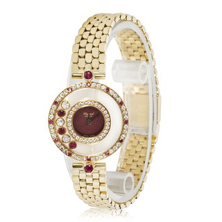 Pre-owned Chopard Happy 20/4191-21 Ladies Watch in 18K Yellow Gold, Diamond and Rubies