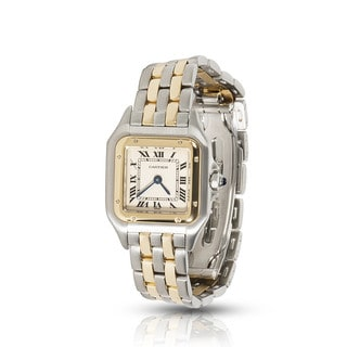 Pre-owned Cartier Panthere Two-Tone W25029B6 Quartz Watch in 18K Yellow Gold/Steel