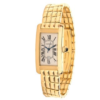 Pre-owned Cartier Tank Americaine 1725 Unisex Watch in 18K Yellow Gold
