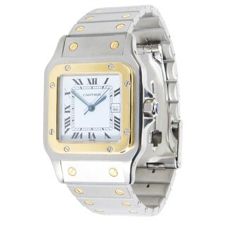 Pre-owned Cartier Santos Vintage 2961 Watch in 18K Yellow Gold & Stainless Steel