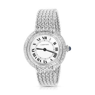 Pre-owned Vintage 1980s Cartier 18K White Gold & Diamond Manual Wind Dress Watch