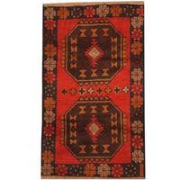 Handmade Herat Oriental Afghan Tribal Balouchi Wool Rug  - 2'10 x 4'7 (Afghanistan)