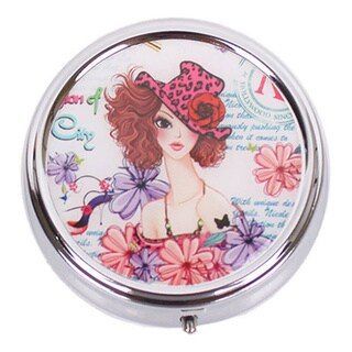 Nicole Lee Signature Print Large Sunny White Metallic Circular Pill Case