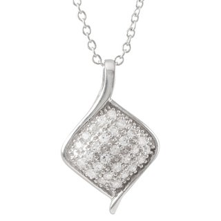 Luxiro Sterling Silver Cubic Zirconia Diamond Shape Pendant Necklace