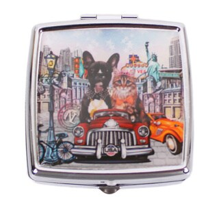 Nicole Lee Signature Print City Drive Stainless Steel Square Pill Case