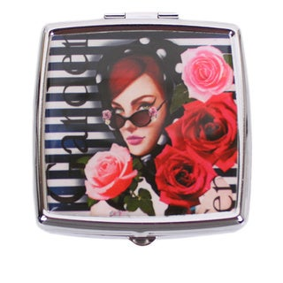 Nicole Lee Signature Print Lady in Red Stainless Steel Square Pill Case