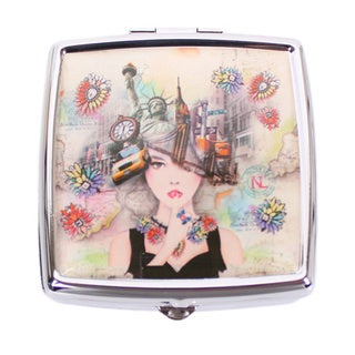 Nicole Lee Signature Print New York New York Metallic Square Pill Case