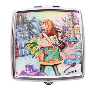 Nicole Lee Signature Print Tulip Girl Stainless Steel Square Pill Case