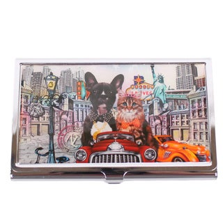 Nicole Lee City Drive Signature Print Stainless Steel Metallic Business Card Case