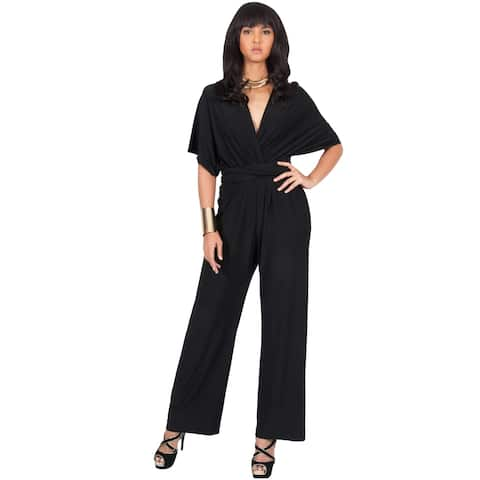 KOH KOH Womens Convertible Wrap Cocktail Party Jumpsuit Romper Pants