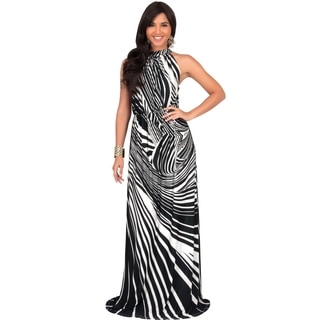 Koh Koh Women's Sleeveless Printed Halter-neck Long Slimming-waist Party Gown Maxi Dress