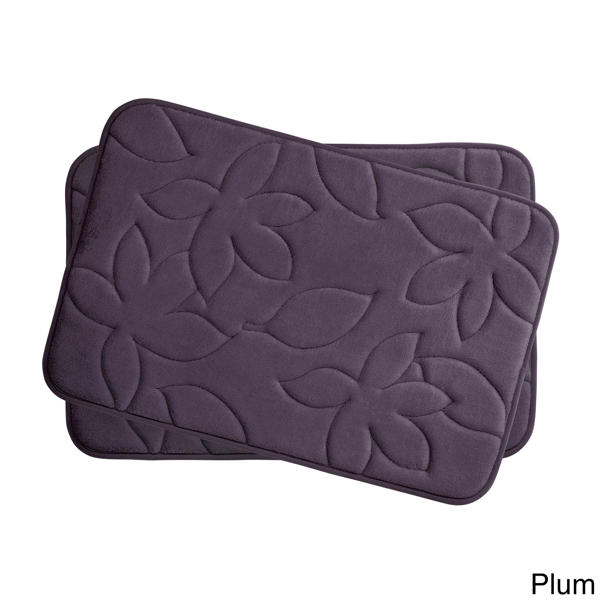 Blowing Leaves Memory Foam 2 Piece Bath Mat Set With