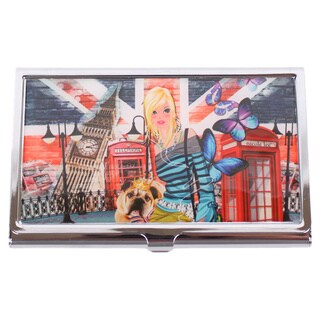Nicole Lee Signature Print London Girl Stainless Steel Business Card Case
