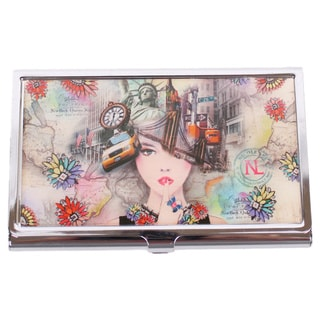 Nicole Lee Signature Print New York New York Metallic Business Card Case