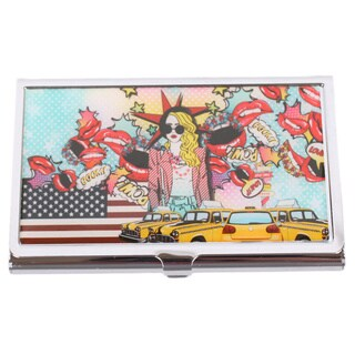 Nicole Lee Signature Print Pop Girl Multicolored Stainless Steel Metallic Business Card Case