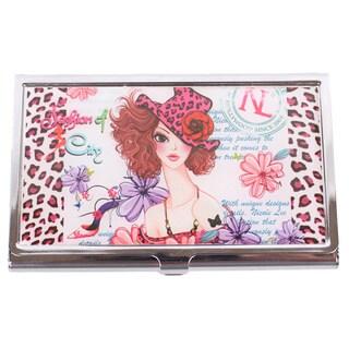 Nicole Lee Signature Print Sunny White Metallic Business Card Case