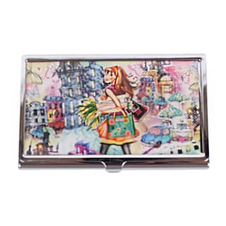 Nicole Lee Signature Print Tulip Girl Stainless Steel Business Card Case