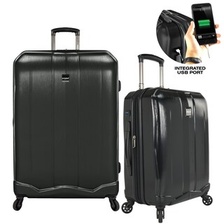 U.S. Traveler Piazza 2-piece Smart Power Bank Expandable Hardside Spinner Luggage Set